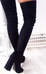 Abigail Faux Suede Knee High Boots Thumbnail