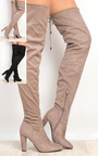 Perla Faux Suede Knee High Boots  Thumbnail