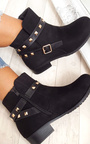 Alexia Studded Faux Suede Ankle Boots Thumbnail