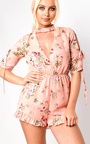 Cora Plunge Floral Frill Playsuit Thumbnail