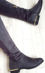 Jada Faux Suede Gold Bar Knee High Boots Thumbnail
