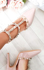 Kirsty Multi Strap T-Bar Studded Court Heels Thumbnail