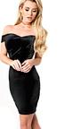 Monique Velour Off Shoulder Bodycon Dress Thumbnail