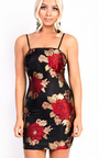 Anikah Floral Print Straight Neck Stretch Bodycon Dress Thumbnail