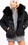 Vivienne Oversized Faux Fur Hooded Jacket Thumbnail