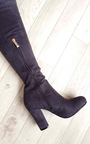 Amelia Faux Suede Tie Knee High Boots  Thumbnail