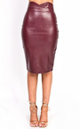 Raila Faux Leather Midi Pencil Skirt  Thumbnail