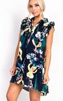 Bella Button Front Floral Frill Dress Thumbnail