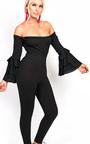 Ariel Slim Leg Flared Bardot Jumpsuit Thumbnail