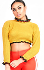 Kara Knitted Cropped Stripe Jumper Thumbnail