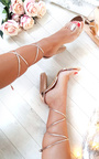 Hope Clear Strap Tie Up Diamante Heels Thumbnail