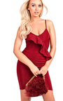 Rosie Cami Shimmer Bodycon Frill Dress Thumbnail