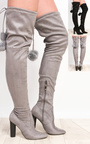 Blaire Pompom Faux Suede Knee High Boots  Thumbnail