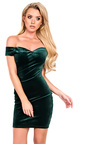 Monique Velour Off Shoulder Bodycon Dress Thumbnail