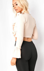 Styla Tie Front Bell Sleeve Crop Top Thumbnail