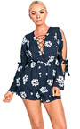 Jessica Navy Floral Cut Out Playsuit Thumbnail