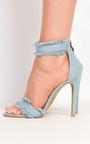 Colette Denim Frayed Sandal Heels Thumbnail