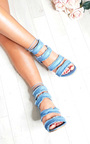 Anna Denim Frayed Sandal Block Heels Thumbnail