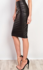 Cadie Faux Leather Midi Skirt  Thumbnail