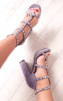Layla Strappy Faux Suede Studded Block Heels Thumbnail