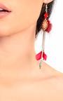 Pia Pom Pom Feather Earrings Thumbnail