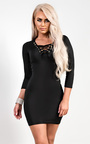 Elyse Lace-Up Bodycon Dress Thumbnail