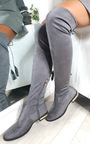 Katie Faux Suede Tassel Knee High Boots Thumbnail