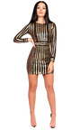 Kassy Long Sleeved Sequin Bodycon Dress Thumbnail