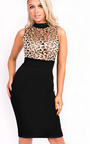 Nelli Embroidered High Neck Bodycon Dress Thumbnail
