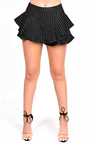 Jojo Frill High Waist Stiped Shorts Thumbnail