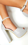Kirti Peep Toe Block High Heels  Thumbnail