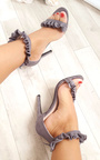 Loratina Faux Suede Frill Barely There Heels Thumbnail