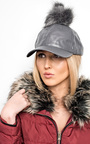 Riley Pompom Leather Hat Thumbnail