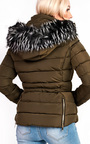 Selina Padded Faux Fur Popper Hooded Jacket Thumbnail