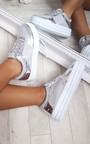 Eva Lace Up Platform Glitter Metallic Trainers Thumbnail