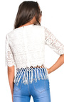 Pollie Lace Fringe Crop Top Thumbnail