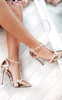 Kalah Chrome T-Bar Studded Court Heels Thumbnail