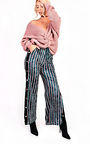 Lexie Velvet Popper Legged Stripe Trousers Thumbnail
