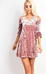 Briley Velour Cold Shoulder Dress Thumbnail