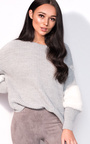 Anna Faux Fur Sleeve Knitted Jumper  Thumbnail