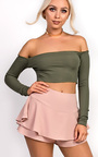 Haley Ribbed Long Sleeved Crop Top Thumbnail