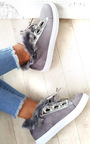 Shyla Faux Suede Fluffy Trainers Thumbnail