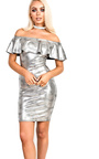 Lacey Metallic Off Shoulder Bodycon Dress Thumbnail