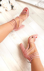 Larissa Strappy Faux Suede Block Heels Thumbnail