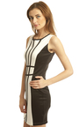 Etta Monochrome Bodycon Dress in Black Thumbnail