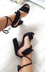 Montana Faux Suede Frill Block Heels Thumbnail