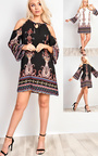 Merilee Cold Shoulder Pattern Dress  Thumbnail