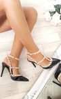 Andrea Multi Strap T-Bar Studded Court Heels Thumbnail