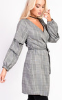 Hailey Checked Wrap Ruffle Sleeve Dress Thumbnail