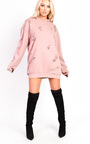 Ava Distressed Oversized Jumper Dress Thumbnail